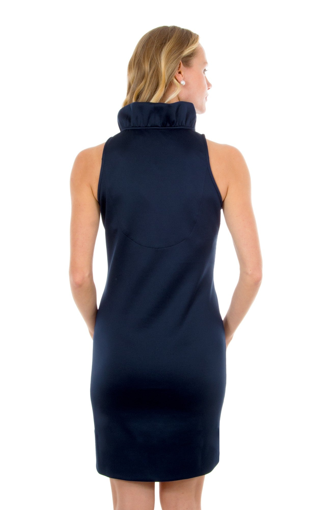 Gretchen Scott Ruff Neck Sleeveless Jersey Dress - Solid Navy