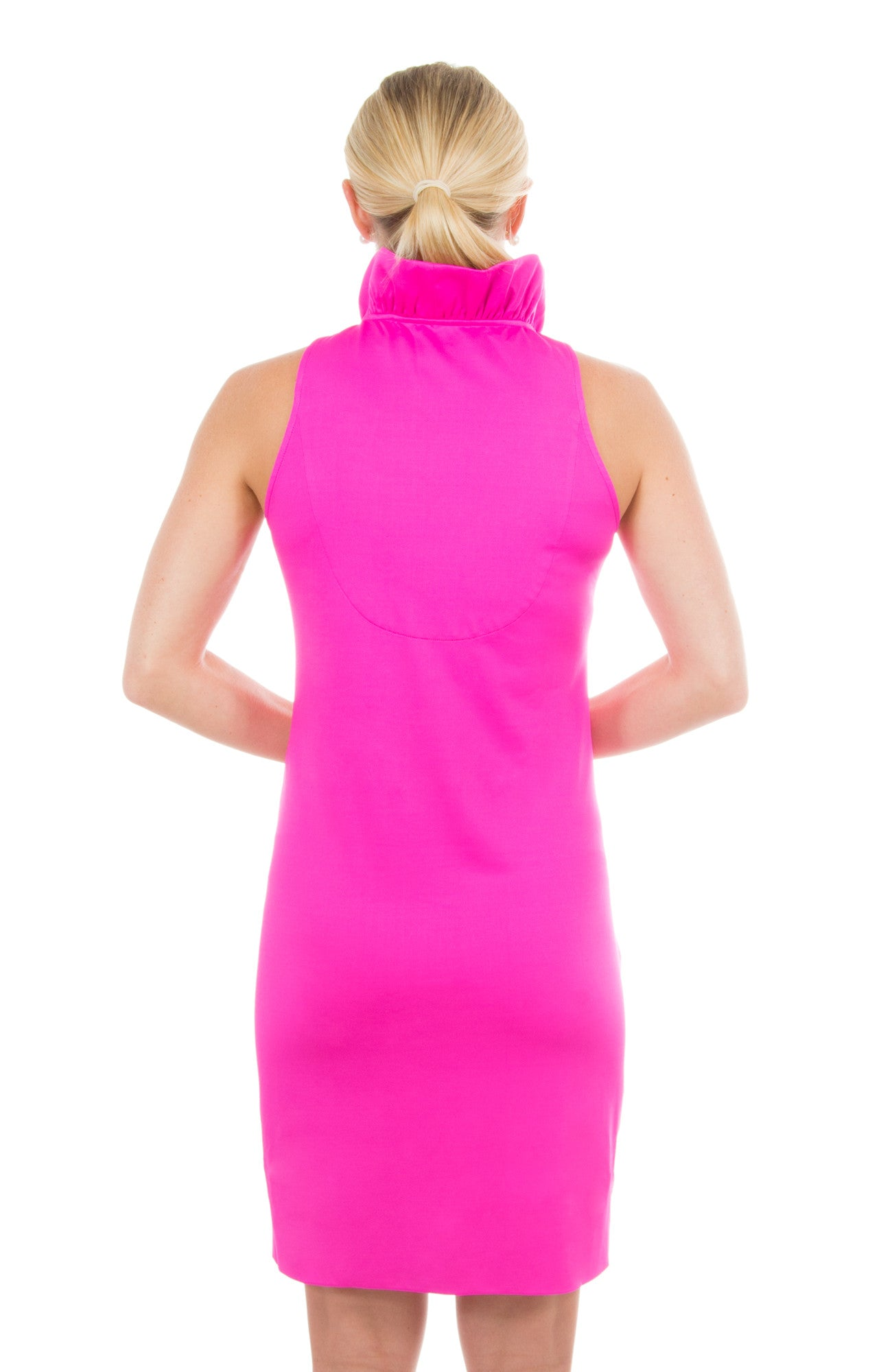 Gretchen Scott Ruff Neck Sleeveless Jersey Dress - Solid Pink