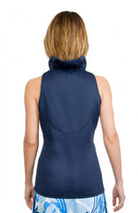 Gretchen Scott Ruff Neck Sleeveless Jersey Top - Solid Navy