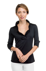 Gretchen Scott Ruff Neck Jersey Top - Solid Black by Gretchen Scott from THE LUCKY KNOT - 1