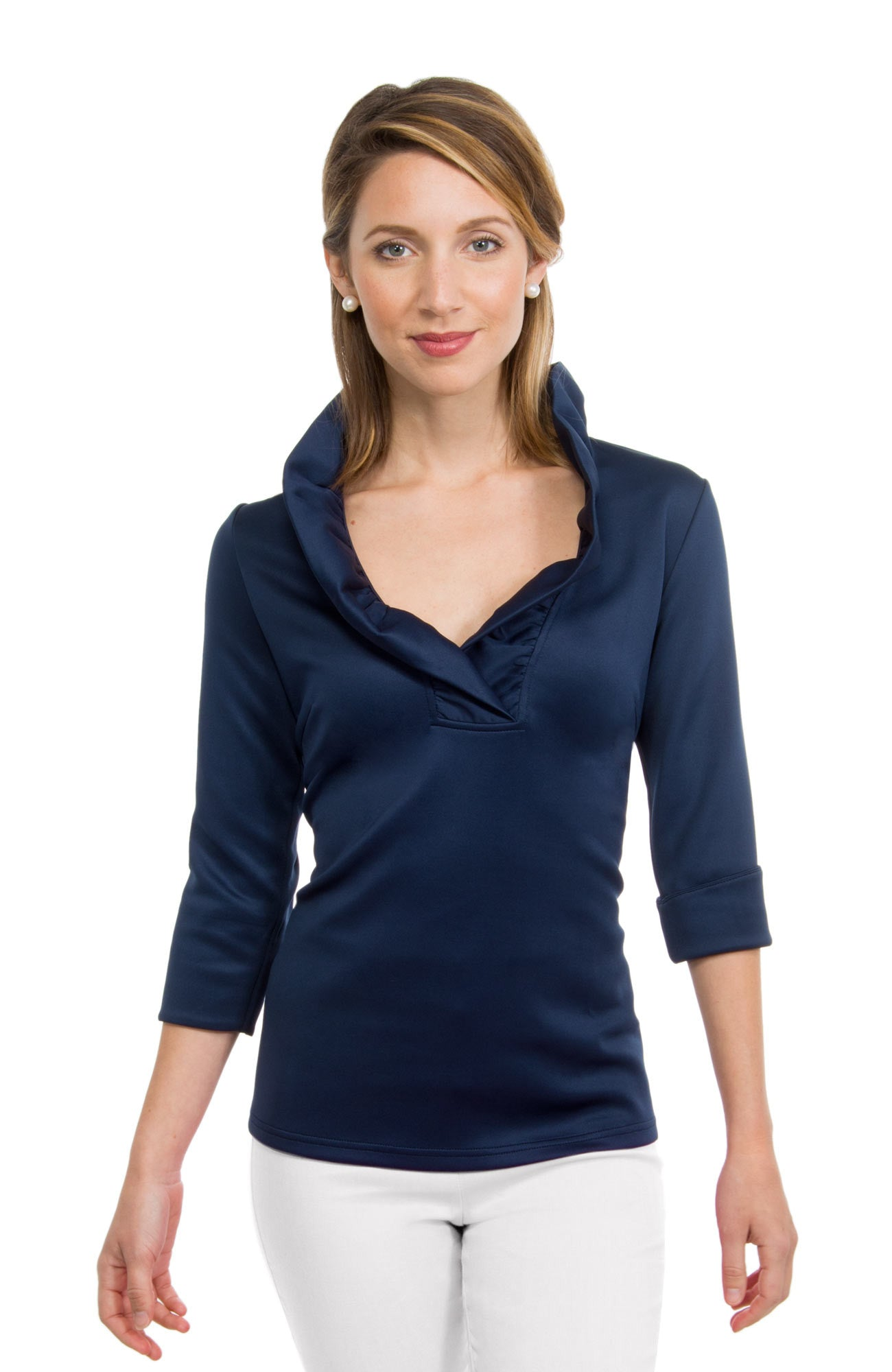 Gretchen Scott Ruff Neck Jersey Top - Solid Navy by Gretchen Scott from THE LUCKY KNOT - 1