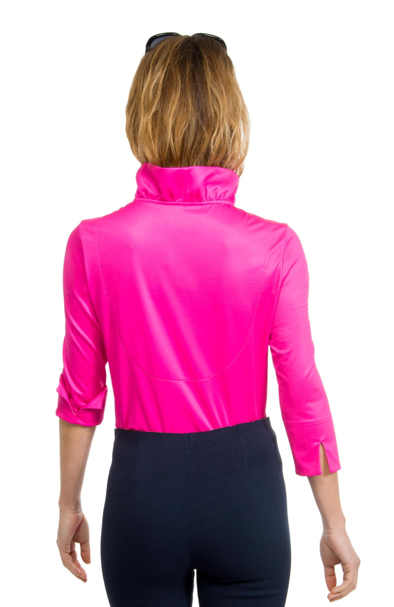 Gretchen Scott Ruff Neck Jersey Top - Solid Pink