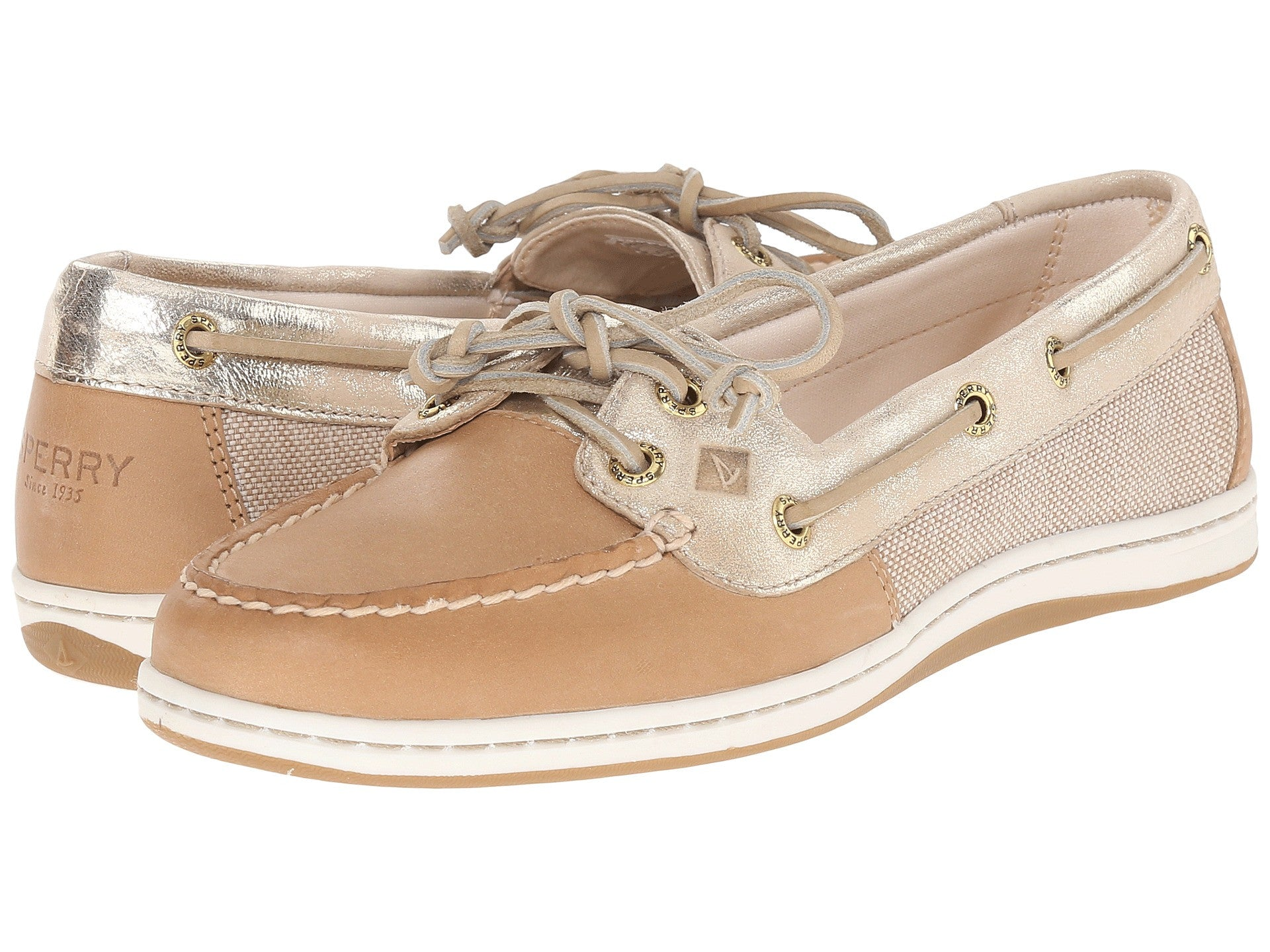 Sperry Women s Firefish Metallic Linen Gold Boat Shoes by Sperry Top-Sider  from THE LUCKY 133b1bb2a