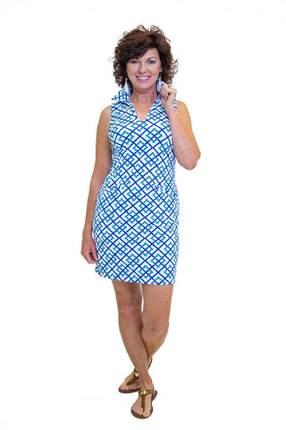 Katherine Way St. Regis Dress - Bamboo Fence Royal