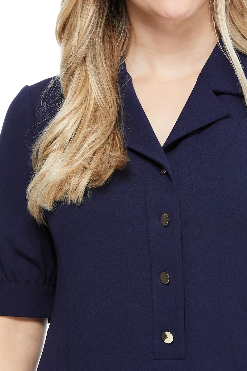 London Times Rhoda Shirt Dress - Navy