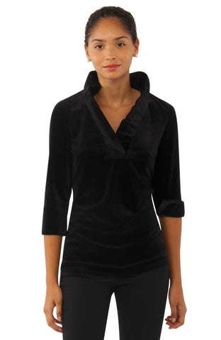 Gretchen Scott Ruff Neck Top - Silky Velvet - Black