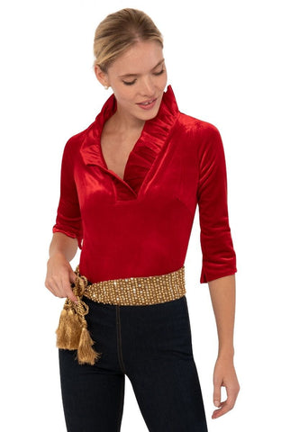 Gretchen Scott Ruff Neck Top - Silky Velvet - Red