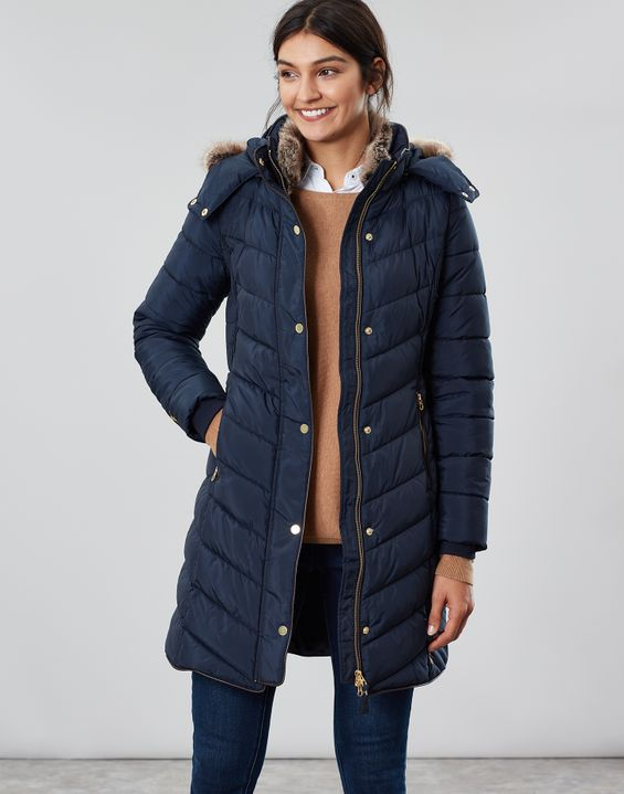 Joules Cherington Quilted Longline Padded Coat - Marine Navy