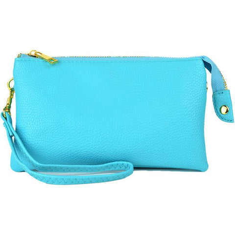 Leatherette Crossbody Clutch in Turquoise