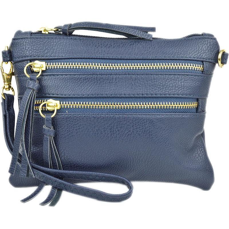 Zipper Crossbody Convertible Clutch in Navy
