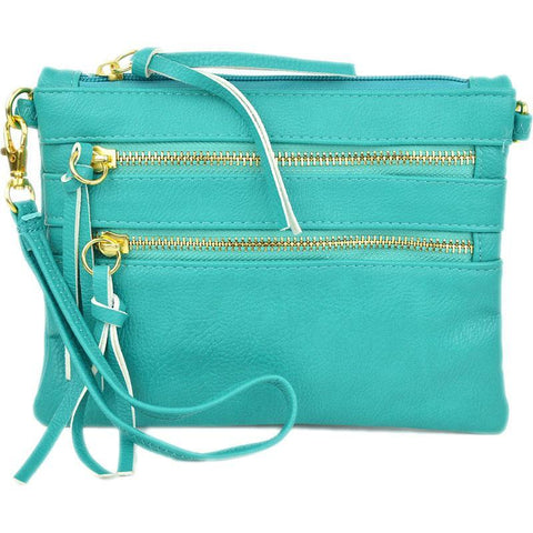 Zipper Crossbody Convertible Clutch in Turquoise