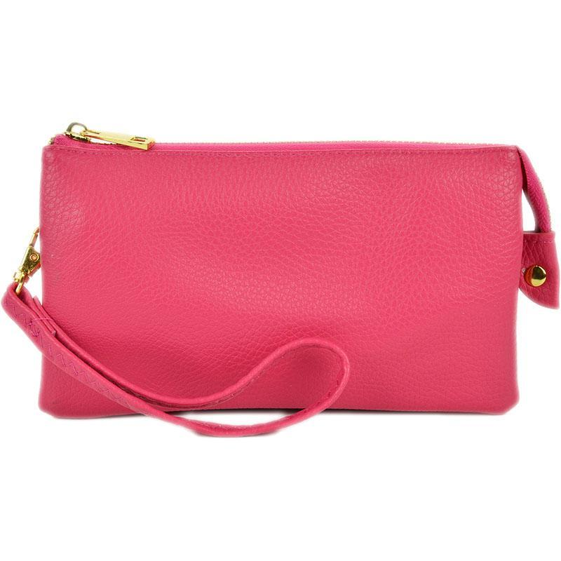 Leatherette Crossbody Clutch in Hot Pink