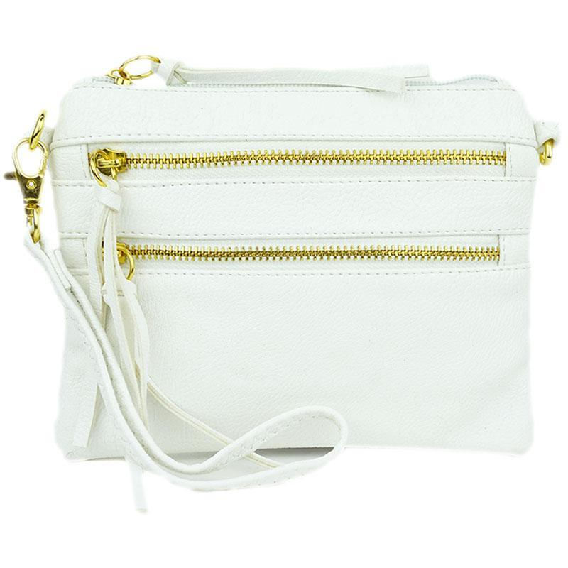 Zipper Crossbody Convertible Clutch in White