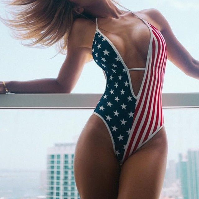 Flawless Women's US Flag Print Beach Swimsuit