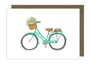 Turquoise Bike with Daisies