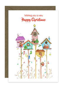 6 Bird House Christmas Cards