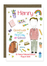 Load image into Gallery viewer, First Day of School - Boy B - Personalised Card