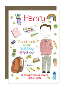 First Day of School - Boy B - Personalised Card