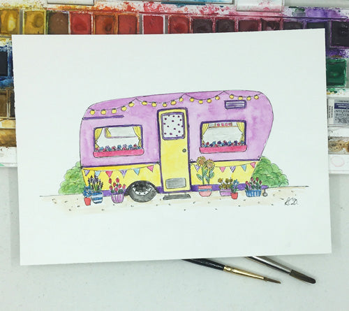 Camper Van with Flowers