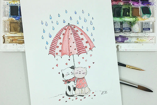 Cats under Umbrella