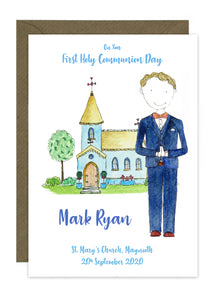 Communion Card - Boy - 3 Piece Suit with Bow Tie