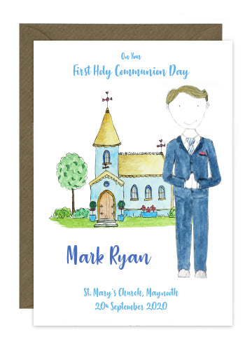 Communion Card - Boy - Suit with Tie