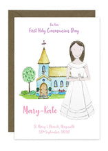 Load image into Gallery viewer, Communion Card - Girl - Full Length Dress