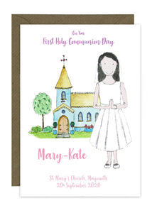 Communion Card - Girl - Dress with Veil