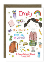 Load image into Gallery viewer, First Day of School - Girl B - Personalised Card