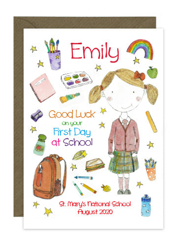 First Day of School - Girl B - Personalised Card