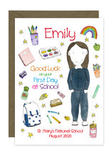 Load image into Gallery viewer, First Day of School - Girl D - Personalised Card