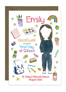 First Day of School - Girl D - Personalised Card