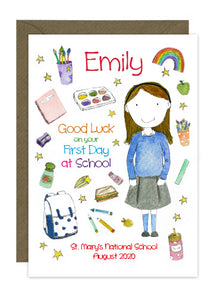 First Day of School - Girl A - Personalised Card