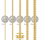Women's Miami Cuban Link Gold Gold® Chain Size chart
