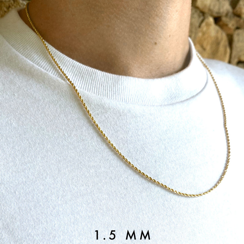 Solid Gold Rope Chain 1.5mm Golds Gods®