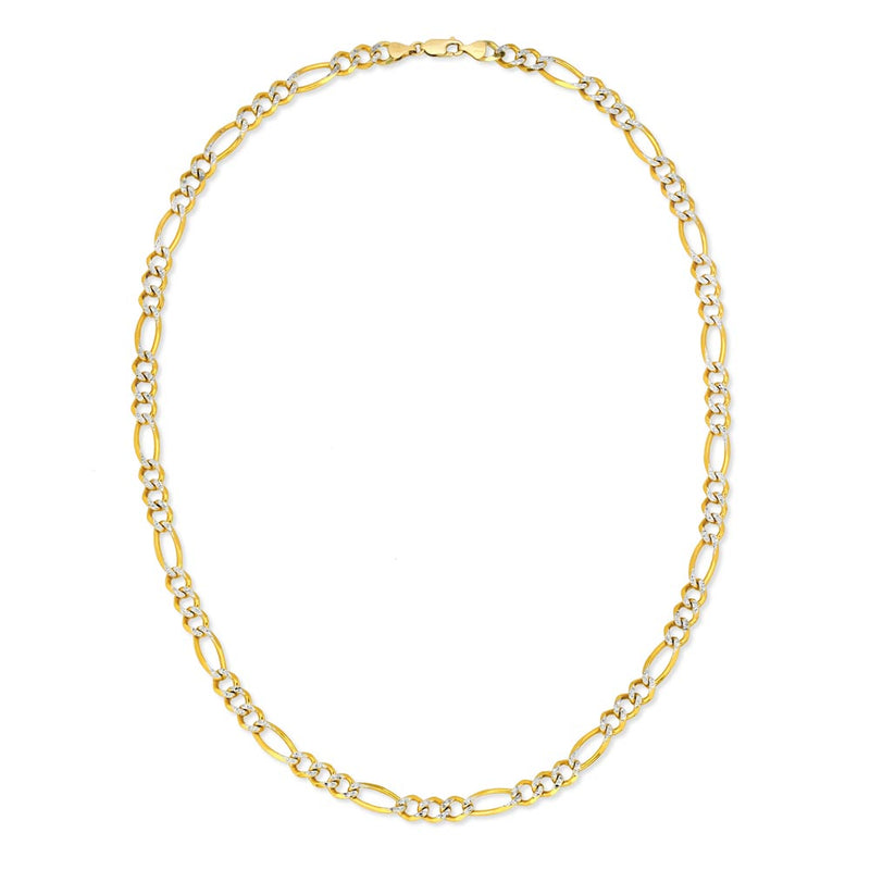 Men's Solid Gold Pave Figaro Link Chain Gold Gods® 3