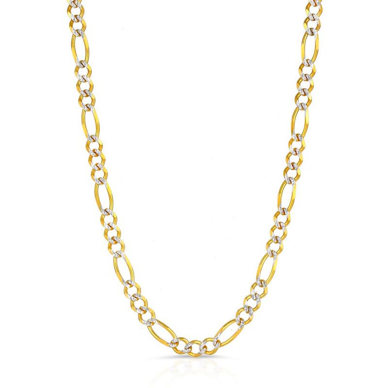 Men's Solid Gold Pave Figaro Link Chain Gold Gods® 1