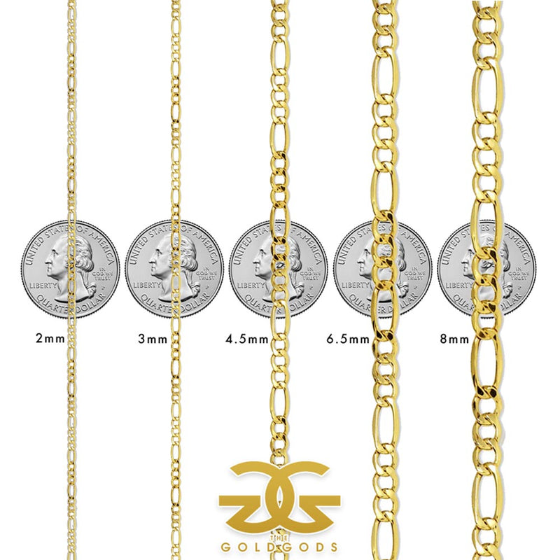 Men's Solid Gold Figaro Link Chain Gold Gods® Size Guide