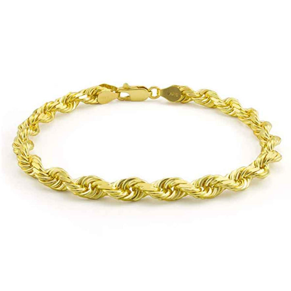 Mens 10k 14k Solid Gold Rope Bracelet Hollow - Gold Gods® close up view