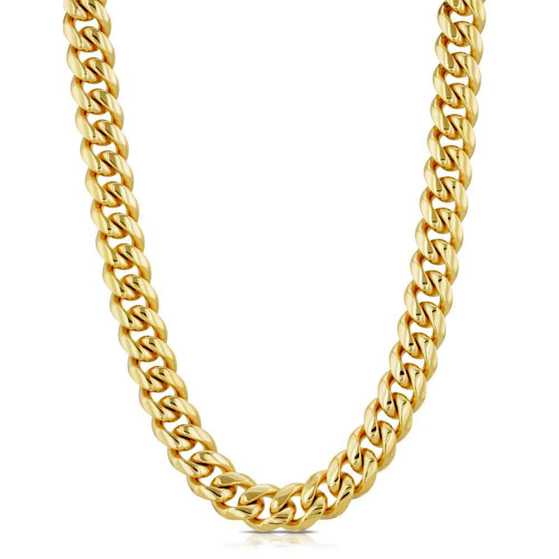 Women's SOLID GOLD MIAMI CUBAN LINK CHAIN Gold Gods® close up