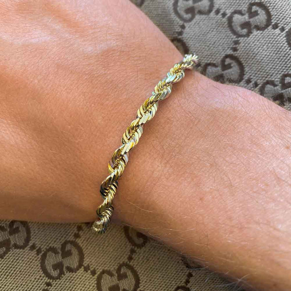 Mens 10k 14k Solid Gold Rope Bracelet Hollow - Gold Gods® lifestyle look
