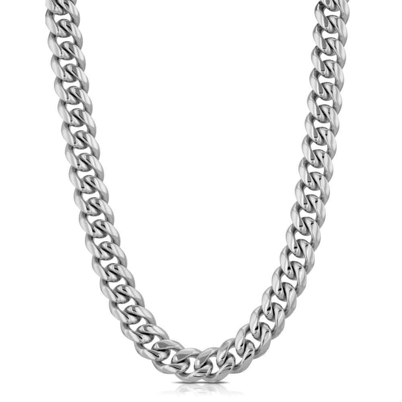 Miami Cuban Link Chain 6mm Gold Gods®  front view in white gold