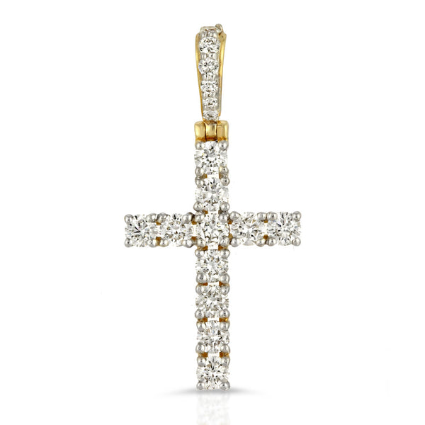 14k Solid Gold Diamond Cross Pendant (.80 CTW) Gold Gods