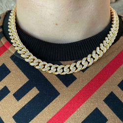 Diamond Cuban Link Chain 10mm lifestyle look gold gods® lifestyle look