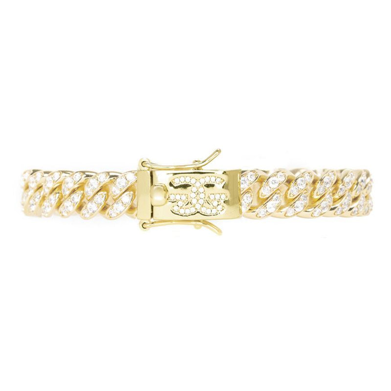 Miami Diamond Cuban Link Bracelet 10mm Gold Golds® front look