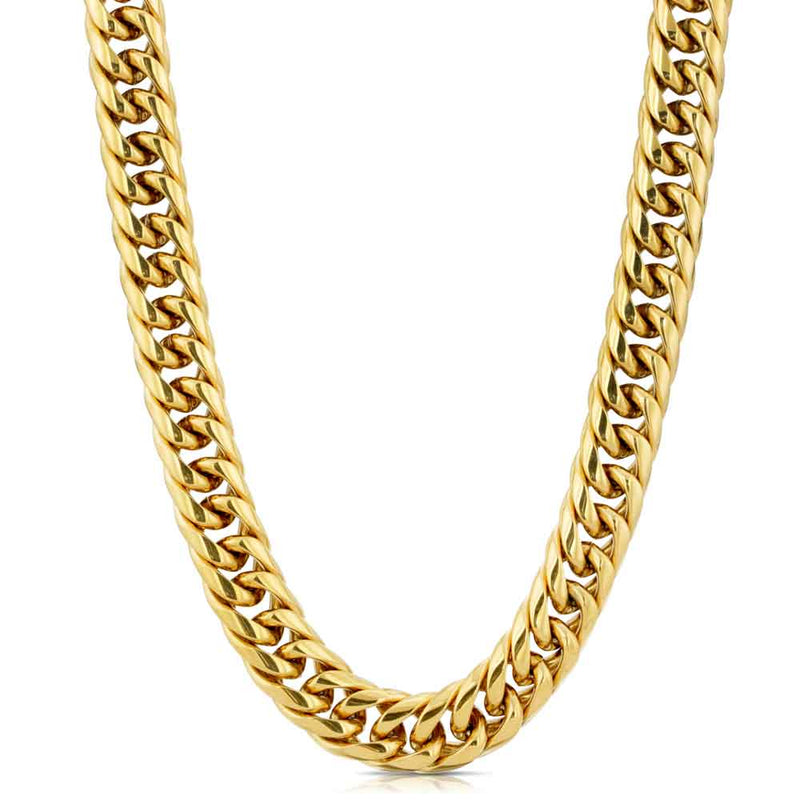 Curved Cuban Link Chain 12mm Gold Gods® front view