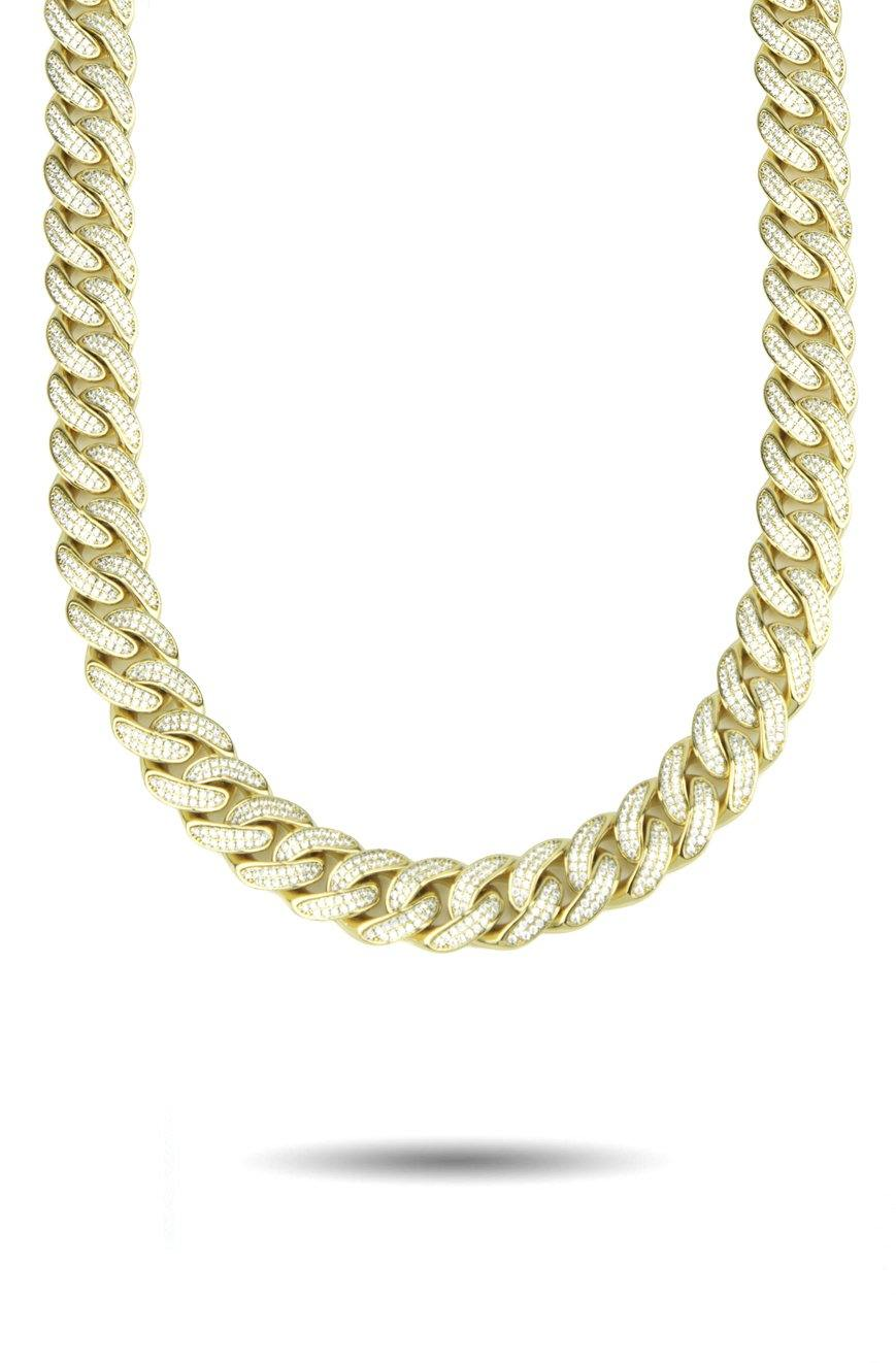 13mm Curved Diamond Cuban Link Chain NEW The Gold Gods Jewelry