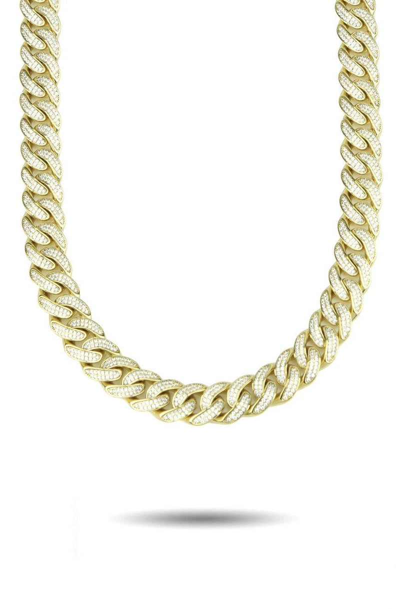 Diamond Cuban Link Chain Curved 13mm Gold Golds®  front look