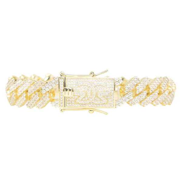 Diamond Cuban Bracelet Straight Edge 15mm Gold Golds® lock close up view