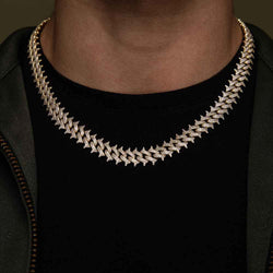 Diamond Cuban Spiked Chain Gold Golds®  lifestyle look front view
